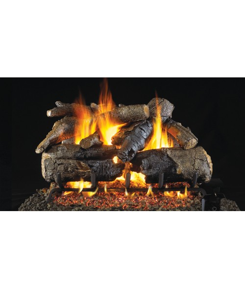 Peterson REAL FYRE Charred American Oak OUTDOOR Vented Gas Log Set with Stainless Steel G45 Burner