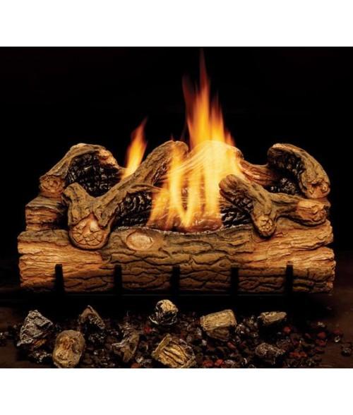 Monessen Charred Hickory Vent-Free Gas Log Set with Burner