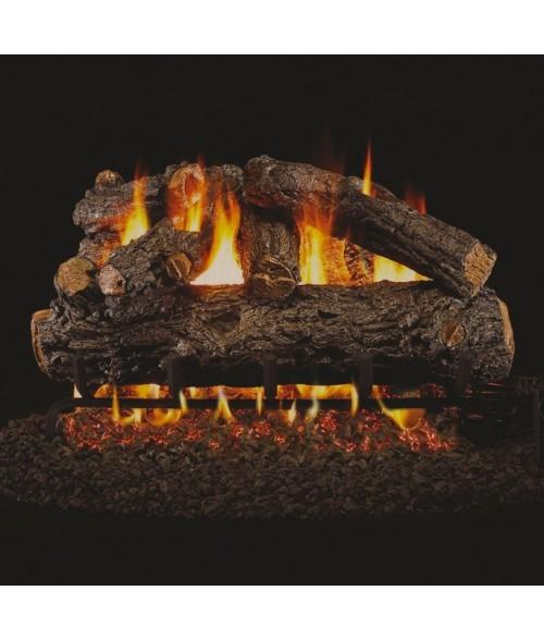 Peterson REAL FYRE Rustic Oak Designer Vented Gas Log Set with ANSI-Certified G45 G46 Burner