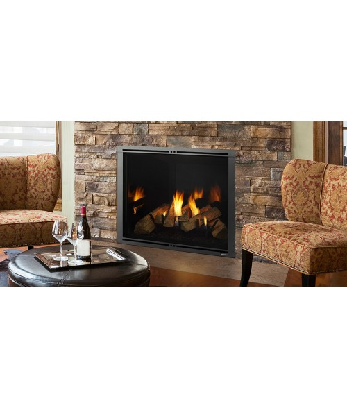 The Marquis II series gas fireplace fills your home with comfort. Watch the scene unfold with an expansive view of the flames as they wrap around split logs. The authentic masonry appearance and accent lighting enhance the beautiful fire. Come home to the