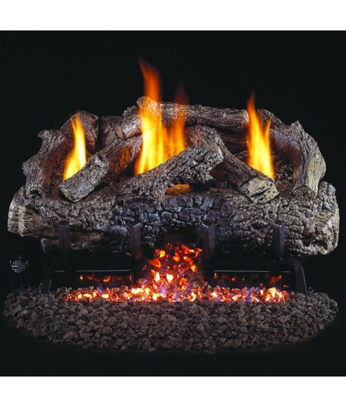 Peterson REAL FYRE Charred Frontier Oak Vent-Free Outdoor Gas Log Set with Stainless Steel G10 Burner