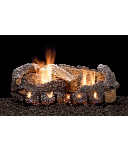 Empire AGED OAK Gas Log Set With VENTED Slope Glaze Burner
