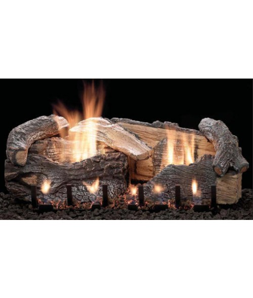 Empire Stacked Aged Oak Vent-Free Gas Log Set with Slope Glaze Burner