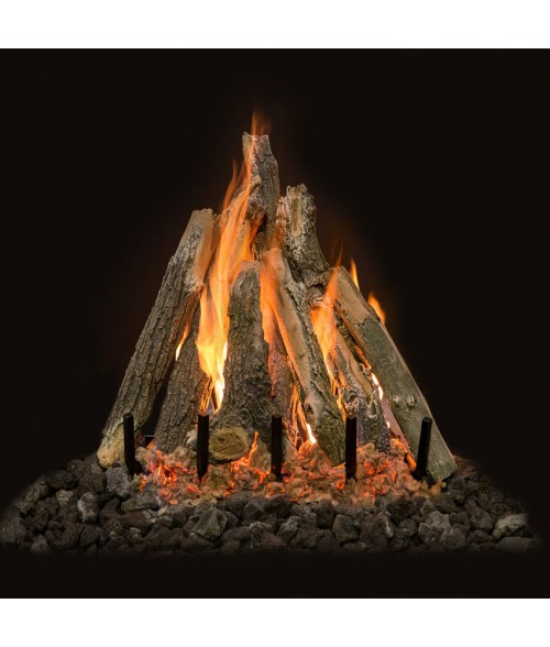 Grand Canyon Arizona Weathered Oak Vented Gas Logs with Kiva Burner