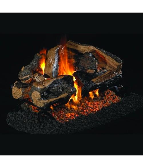 Peterson REAL FYRE Charred Ruggid Split See Thru VENTED Gas Log Set with G45 Burner