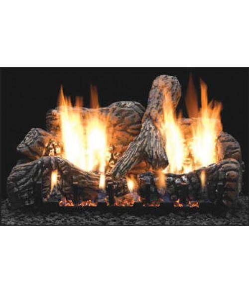 empire charred oak ventfree gas log set with slope glaze burner - Ventless Gas Logs