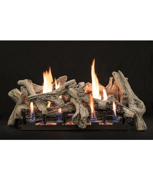 Empire Driftwood (Burncrete) Vent-Free Gas Log Set with Slope Glaze Burner