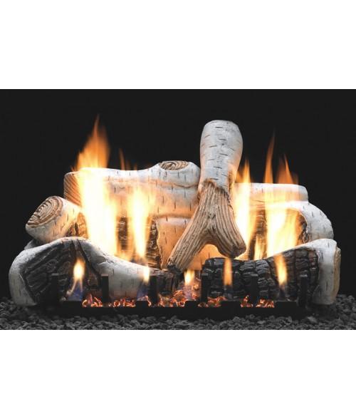 Empire BIRCH  Gas Log Set With VENTED Slope Glaze Burner