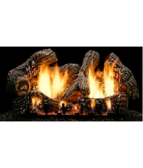 Empire SUPER CHARRED OAK  Gas Log Set With VENTED Slope Glaze Burner
