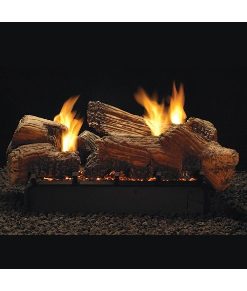 empire stone river seethru ventfree gas log set w slope glaze