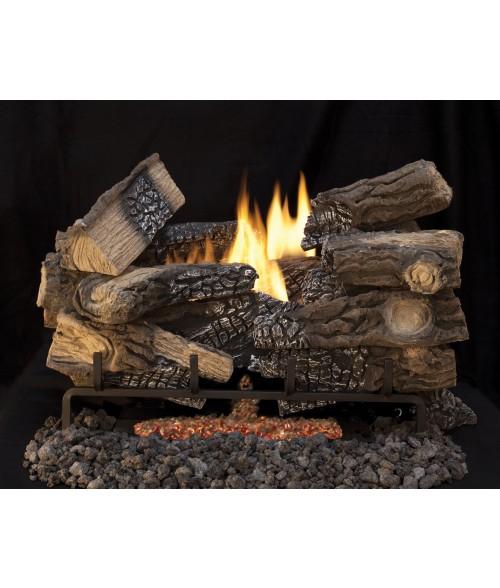 superior massive mixed oak ventfree gas log set triple flame burner w