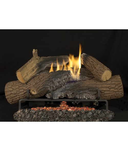 Superior Rugged Stack Vent-Free Gas Log Set (Tri Flame Burner w/ Ember Bed)