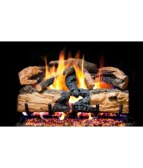 RH Peterson Charred Evergreen Split Oak Vented Gas Log Set with G52 Radiant Fyre Burner