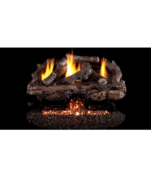 Peterson REAL FYRE Charred Aged Split Vent-Free Outdoor Gas Log Set with Stainless Steel G10 Burner