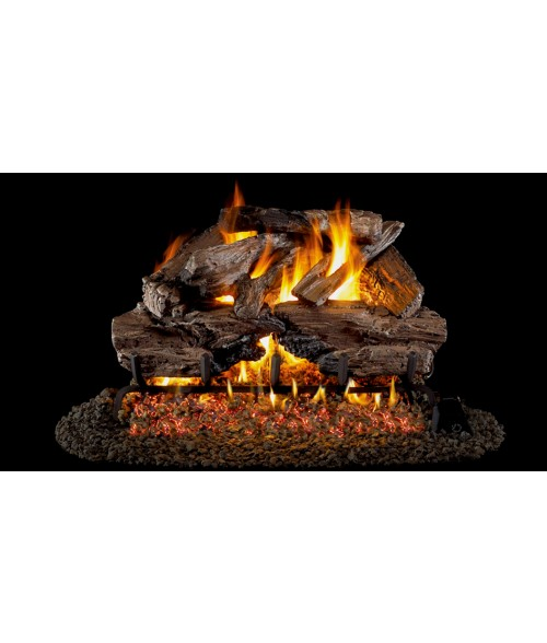 Peterson REAL FYRE Charred Cedar OUTDOOR Vented Gas Log Set with Stainless Steel G45 Burner