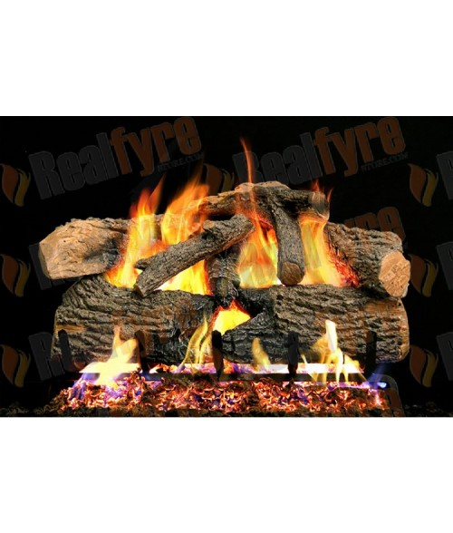 RH Peterson Charred Evergreen Oak Vented Gas Log Set with G52 Radiant Fyre Burner