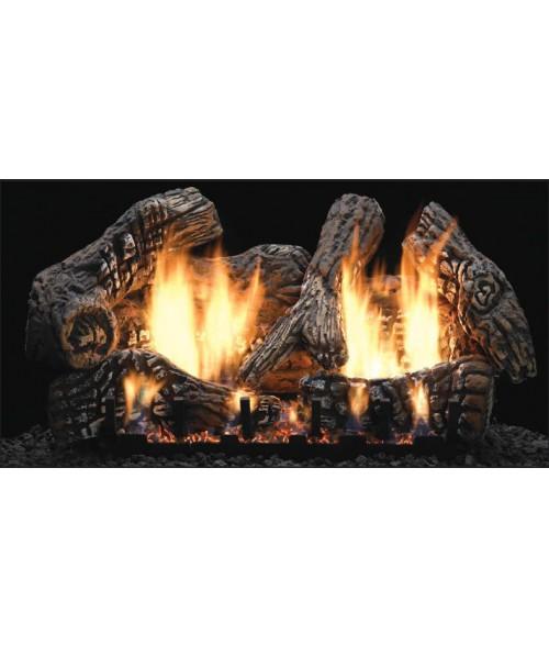 empire super charred oak ventfree gas log set with slope glaze burner - Ventless Gas Logs